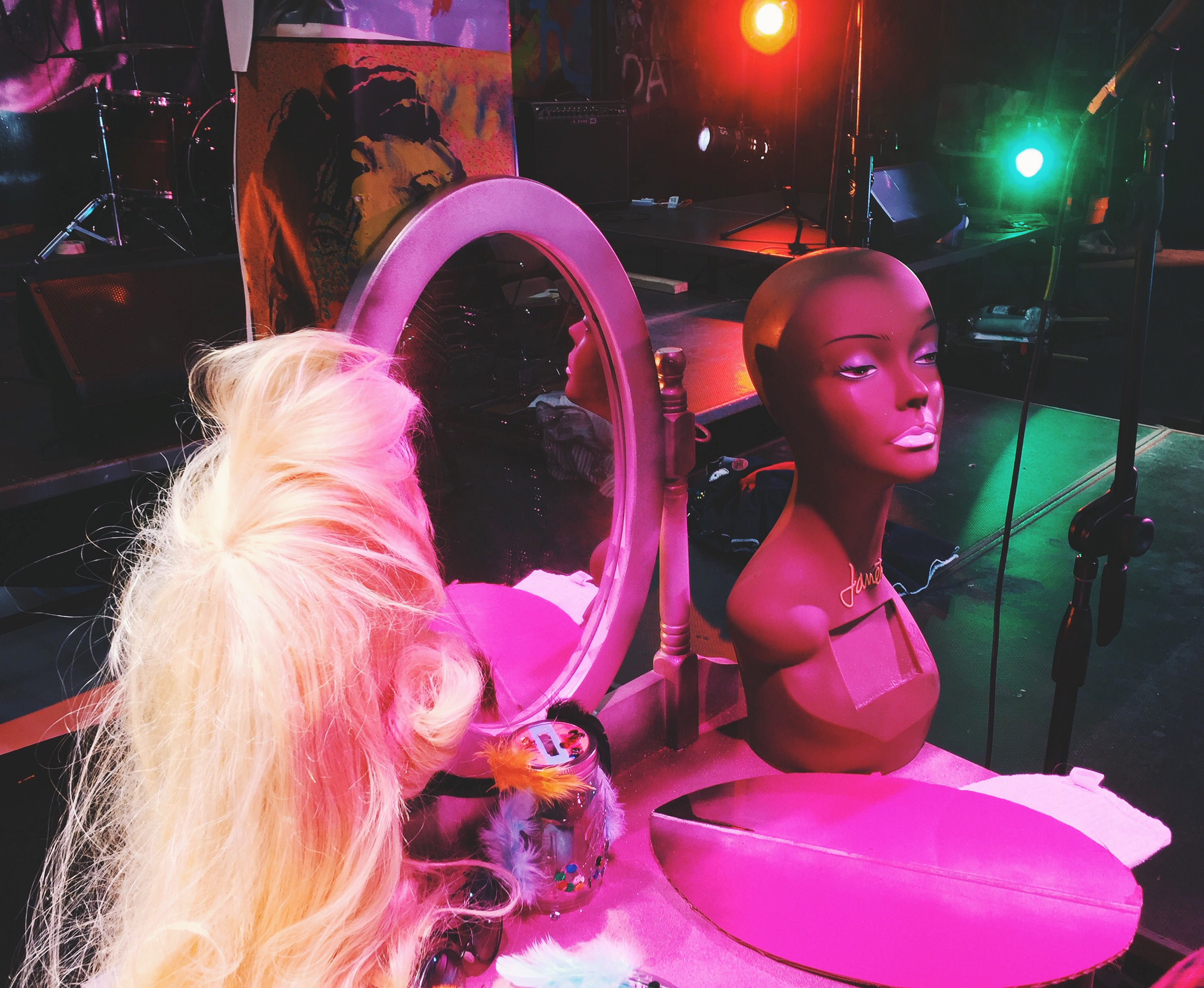 Wig backstage at Hedwig and the Angry Inch
